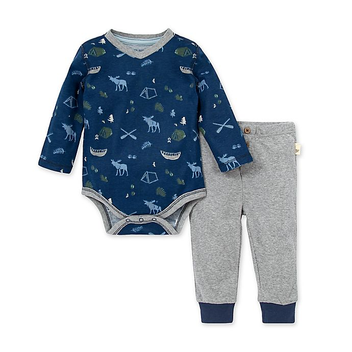 Alternate image 1 for Burt's Bees Baby® 2-Piece Moose Trails Organic Cotton Bodysuit and Pant Set