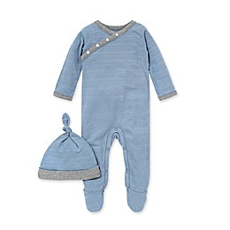 Burts's Bees Baby® 2-Piece Dotted Jacquard Stripe Jumpsuit and Knot Hat Set