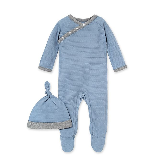 Alternate image 1 for Burts's Bees Baby® 2-Piece Dotted Jacquard Stripe Jumpsuit and Knot Hat Set