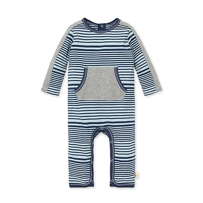 Alternate image 1 for Burt's Bees Baby® Miles and Miles Stripe Jumpsuit in Blue