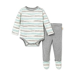 Burt's Bees Baby® 2-Piece Tipped Stripe Organic Cotton Bodysuit and Footed Pant Set
