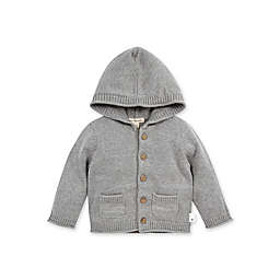 Burt's Bees Baby® Size 9M Organic Cotton Hooded Knit Cardigan in Grey