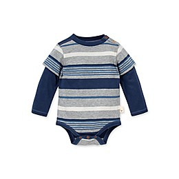 Burt's Bees Baby® Organic Cotton Long Sleeve Multistripe Bodysuit in Blue