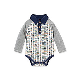 Burt's Bees Baby® Organic Cotton Trail Markers Polo Bodysuit in Grey