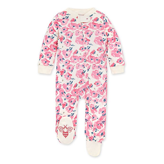 Alternate image 1 for Burt's Bees Baby® Bold Blossoms Footie in Eggshell