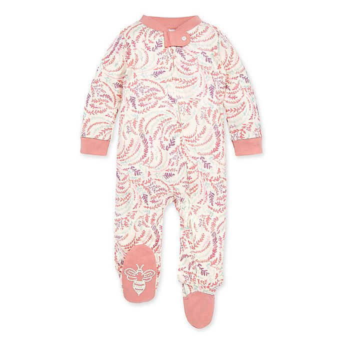 Alternate image 1 for Burt's Bees Baby® Swirly Twigs Footie in Rose Quartz
