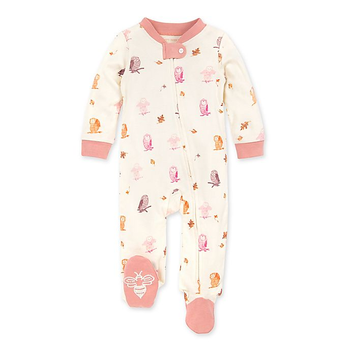 Alternate image 1 for Burt's Bees Baby® Owls and Leaves Footie in Rose Quartz