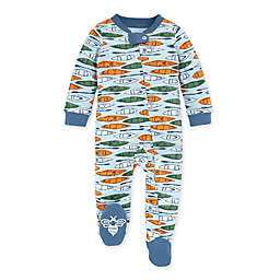 Burt's Bees Baby Without a Paddle Size 6-9M Organic Cotton Footie in Blue