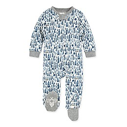 Burt's Bees Baby® Cozy Pine Cabin Footie in Heather Grey/Blue