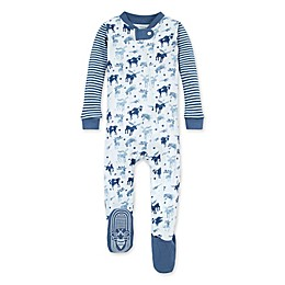 Burt's Bees Baby® Antler Family Organic Cotton Footed Pajama in Blue