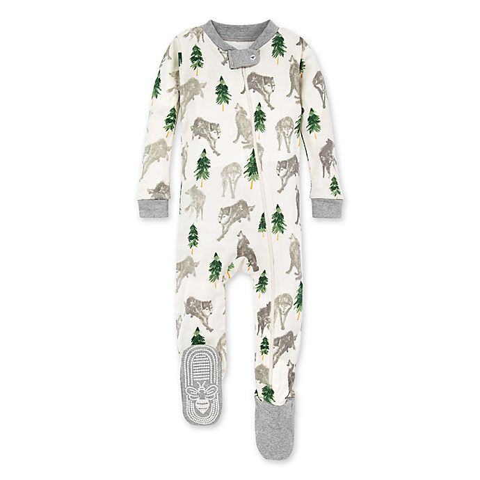 Alternate image 1 for Burt's Bees Baby® Alpha Dog Organic Cotton Footed Pajama in Heather Grey