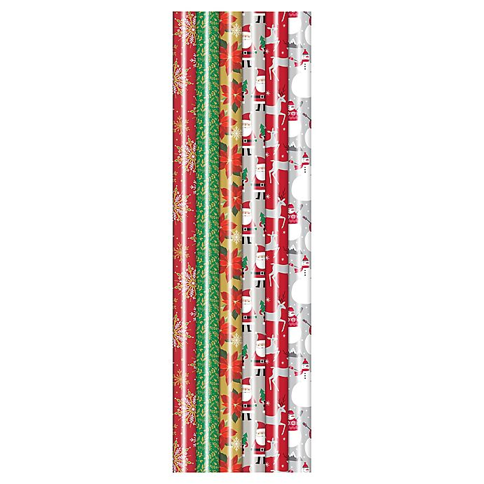 Alternate image 1 for Winter Wonderland 31-Inch Assorted Traditional Metallic Foil Wrapping Paper
