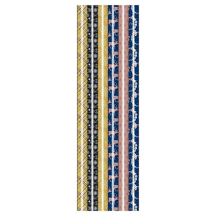 Alternate image 1 for Winter Wonderland 31-Inch Assorted Glam Metallic Foil Wrapping Paper