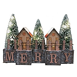 9-Inch LED Merry Village in Natural/Green