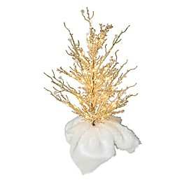 2-Foot Pre-Lit Beaded Tree with Faux Fur Pot