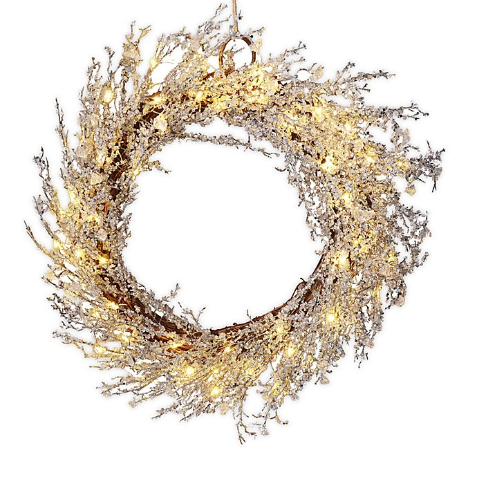 22 Inch Pre Lit Crystal Wreath In White Silver Bed Bath Beyond