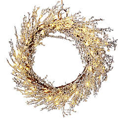 22-Inch Pre-Lit Crystal Wreath in White/Silver