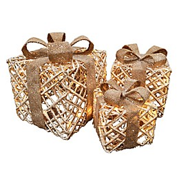 3-Piece Lighted LED Rope Gift Box Set in Brown/White