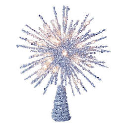 12-Inch LED Starburst Christmas Tree Topper in Silver