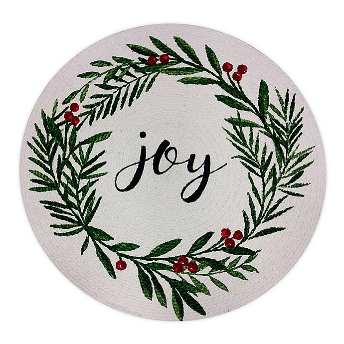 Alternate image 1 for Bee & Willow™ Home Joy Holiday Holly Wreath Braided Round Placemat