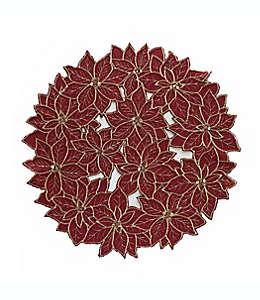 Mantel individual con diseño de flores de noche buena en rojo