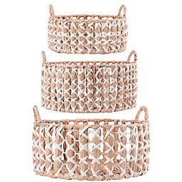 Home Essentials & Beyond Water Hyacinth Baskets with White Trim (Set of 3)