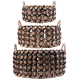 Home Essentials & Beyond Water Hyacinth Baskets with Black Trim (Set of 3)