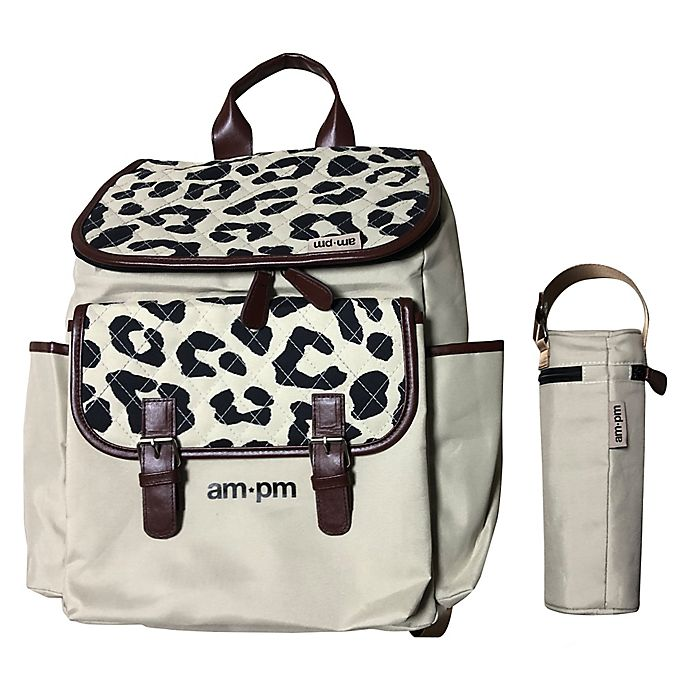 Alternate image 1 for Your Babiie AM:PM By Christina Milian Backpack Diaper Bag in Leopard