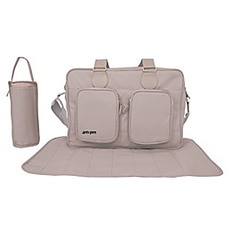 Your Babiie AM:PM By Christina Milian Messenger Diaper Bag in Nude