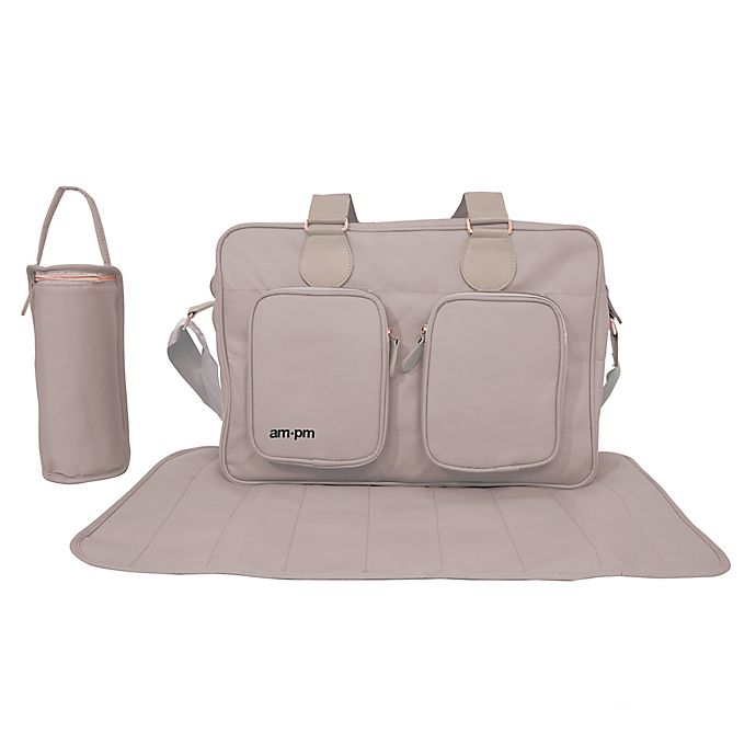 Alternate image 1 for Your Babiie AM:PM By Christina Milian Messenger Diaper Bag in Nude