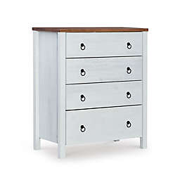 Powell Reia 4-Drawer Storage Chest in White/Rustic Oak
