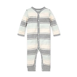 Burt's Bees Baby® Organic Cotton Rugby Mega Stripe Jumpsuit in Mint/Grey