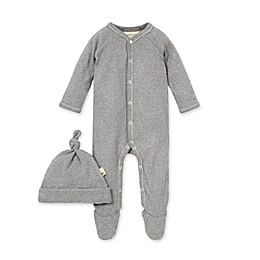 Burt's Bees Baby® Thermal Footed Jumpsuit & Hat Set in Heather Grey