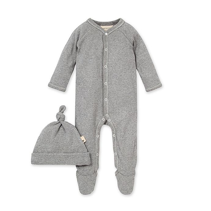 Alternate image 1 for Burt's Bees Baby® Thermal Footed Jumpsuit & Hat Set in Heather Grey