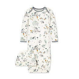 Burt's Bees Baby® One-Size 2-Piece Hedgehog Forest Gown and Cap Set in Ivory