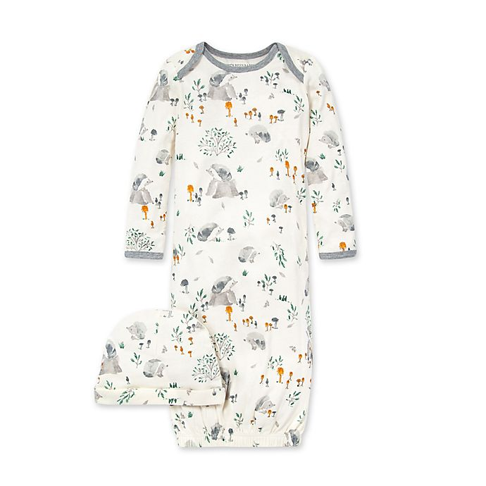 Alternate image 1 for Burt's Bees Baby® One-Size 2-Piece Hedgehog Forest Gown and Cap Set in Ivory