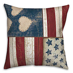 Designs Direct Americana Distressed Wood Square Throw Pillow