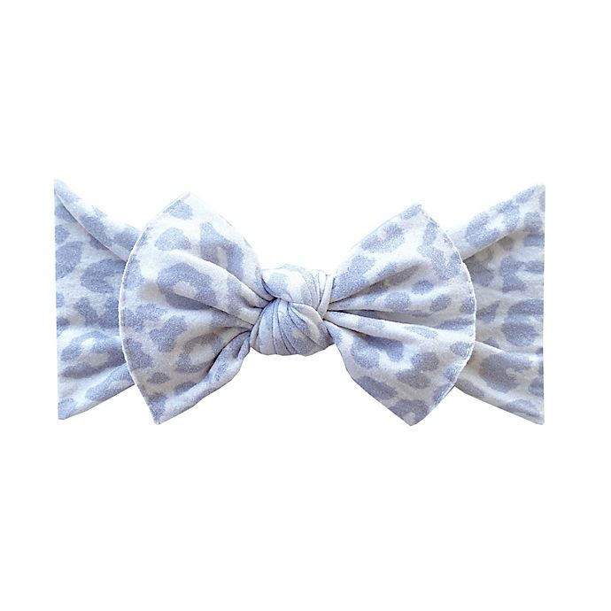 Alternate image 1 for Baby Bling Printed Knot Headband in Snow Leopard