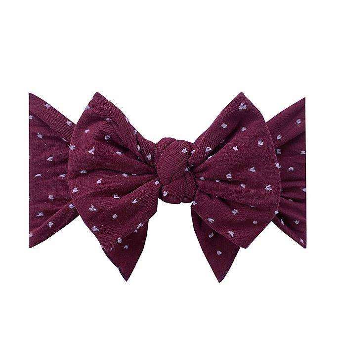 Alternate image 1 for Baby Bling One Size Dang Enormous Bow in Burgundy/White Dot
