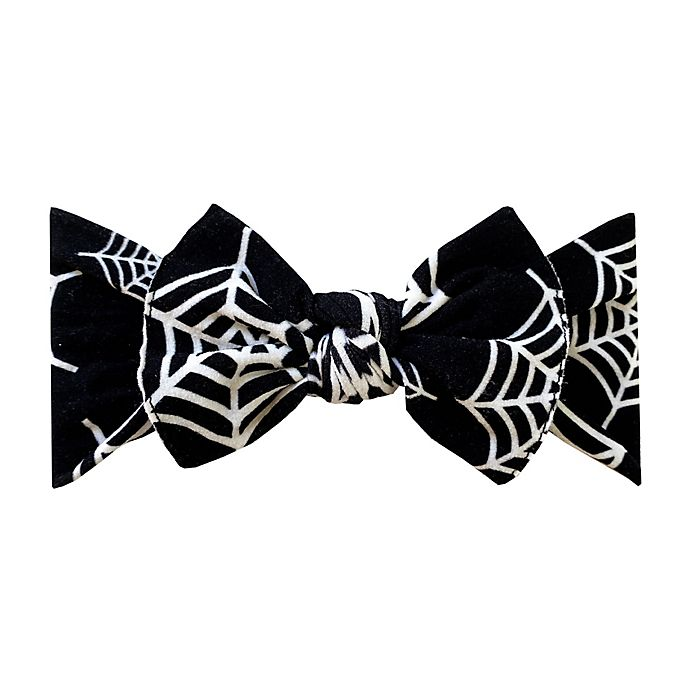 Alternate image 1 for Baby Bling Printed Knot Headband in Spider Web