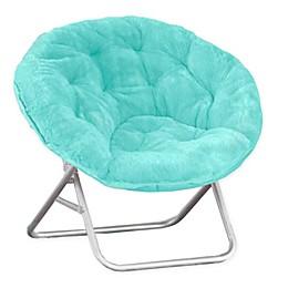 Faux Fur Saucer Chair in Aqua
