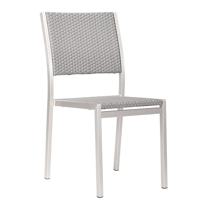 Alternate image 1 for Zuo® Outdoor Metropolitan Brushed Aluminum Dining Chairs (Set of 2)