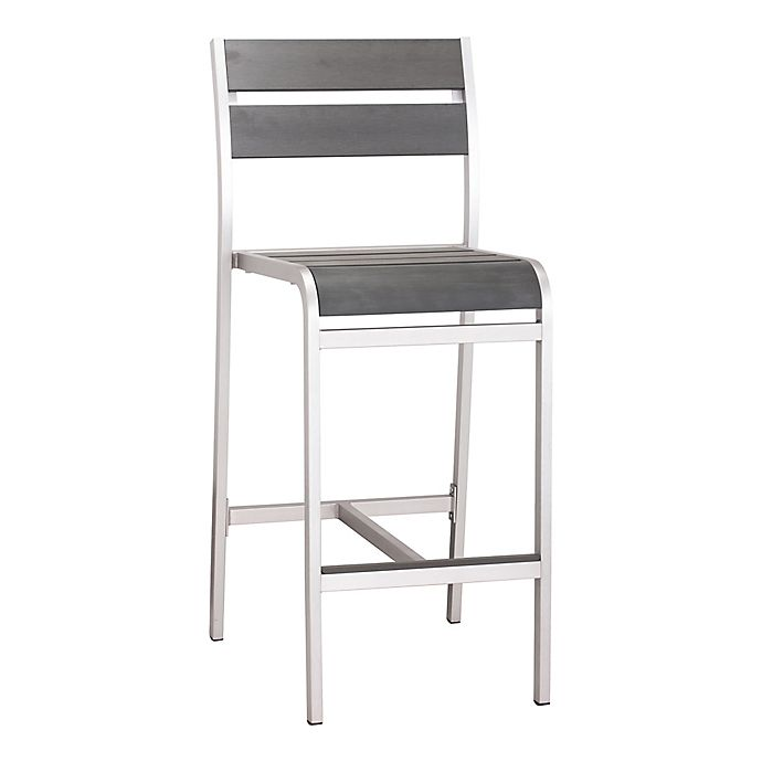 Alternate image 1 for Zuo® Megapolis Bar Armless Chair in Brushed Aluminum (Set of 2)