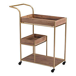 Zuo® Tri-Level Wood Bar Cart in Brown
