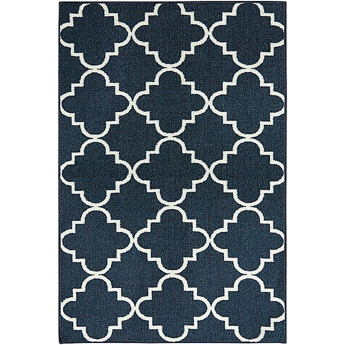 Alternate image 1 for Mohawk Home Fancy Trellis 2-Foot 6-Inch x 3-Foot 10-Inch Accent Rug in Navy