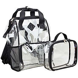 Eastsport Convertible Clear Backpack with Pouch in Black