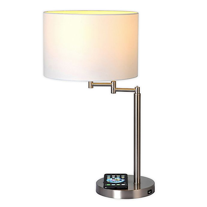 Alternate image 1 for Adesso® Swing Arm Qi Wireless Charging Table Lamp with Drum Shade