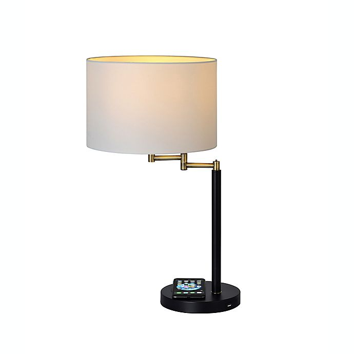 Alternate image 1 for Adesso® Swing Arm Qi Wireless Charging Table Lamp in Brass/Black with Drum Shade
