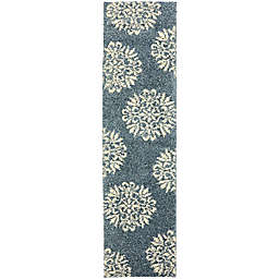 Mohawk Home Huxley Exploded Medallions 2-Foot x 7-Foot 10-Inch Runner Bay Blue