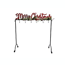 """35.5-Inch """"Merry Christmas"""" Freestanding Metal Stocking Stand"""